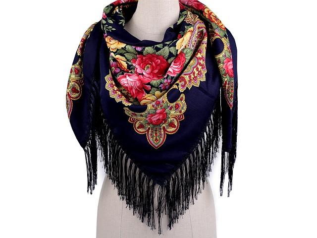 Šátek folklór květy s třásněmi 105x105 cm