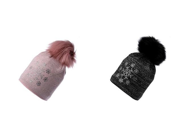 Dámska zimná čiapka s brmbolcom a lurexom, kamienková vločka