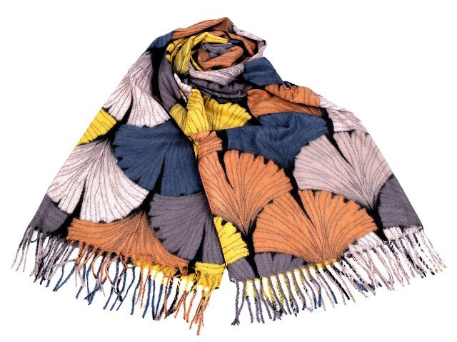 Šála zimní / pléd s třásněmi 70x180 cm Ginkgo biloba