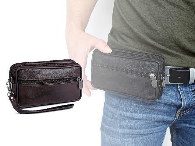 Táska / pénztárca övre telefonra / irataihoz, bőr 10x17 cm