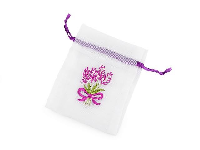 Darčekové vrecúško s výšivkou levandule 8x10 cm