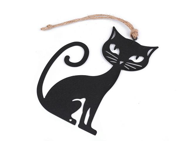 Čierna kovová mačka na zavesenie