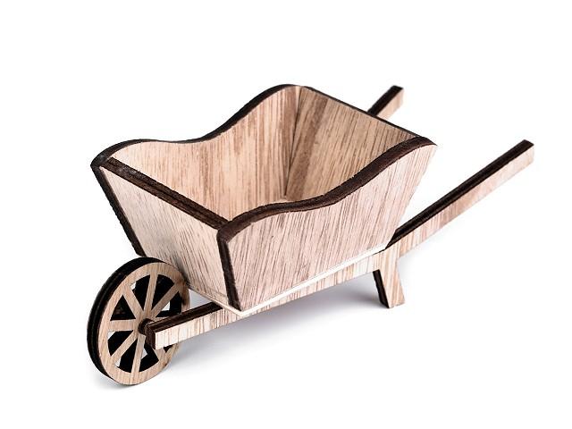 Dekorace dřevěný trakař 6x16 cm