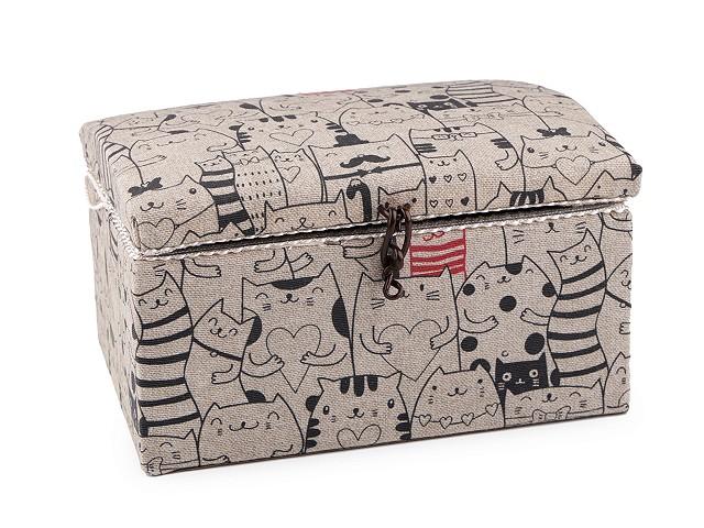 Kazeta / košík na šití čalouněný kočky