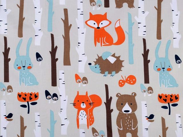 Bavlněná látka lišky v lese
