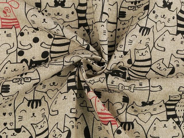 Dekorační látka Loneta kočky