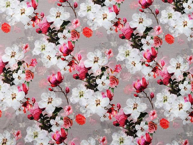 Teplákovina bavlnená nepočesaná s digitálnou potlačou kvety
