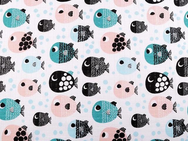 Tkanina pieluchowa bawełniana / muślin ryby