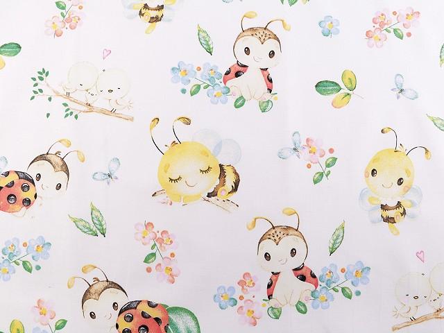 Pamut anyag katicabogár, méhecske