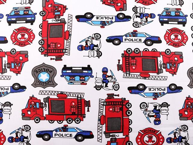 Bavlnená látka hasiči, polícia